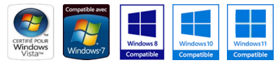 Compatible avec Windows XP, Vista (32/64), Seven (32/64), Windows 8 et 8.1 (32/64) et Windows 10 (32/64)